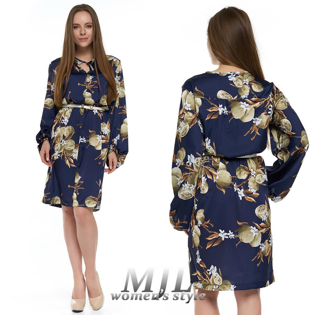 Шелковое свободное платье Керин синее