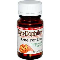 Wakunaga - Kyolic, Kyo Dophilus, один раз в день, для пищеварения и иммунитета, 30 капсул