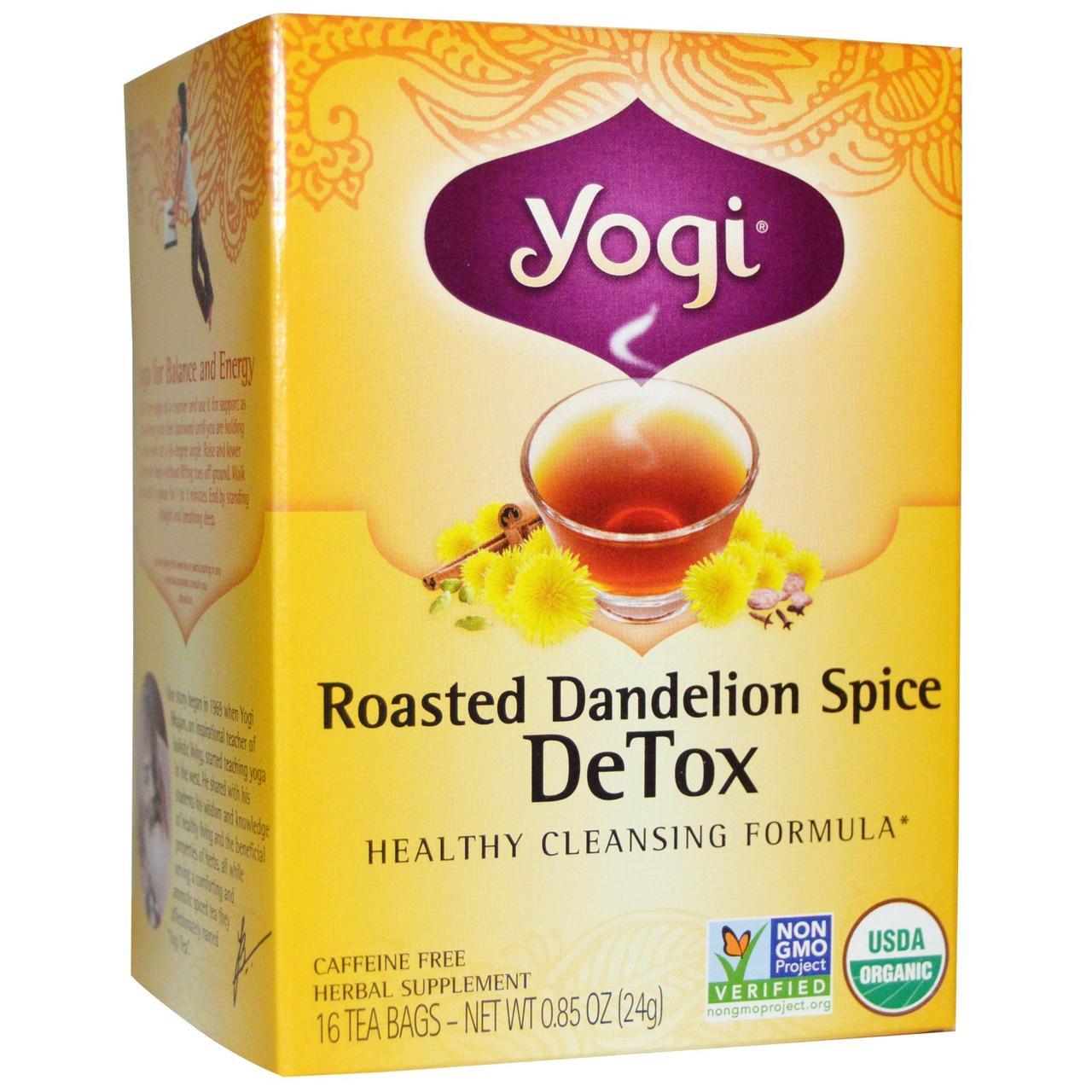 Yogi Tea, Чай для выведения токсинов, с поджаренным одуванчиком и специями, 16 пакетиков, 0.85 унций (24 г) - Интернет-магазин для здоровой жизни в Киеве