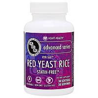 Advanced Orthomolecular Research AOR, Продвинутая серия, красный ферментированный рис, 30 желатиновых капсул