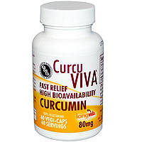 Advanced Orthomolecular Research AOR, CurcuViva, куркумин, 80 мг, 60 растительных капсул