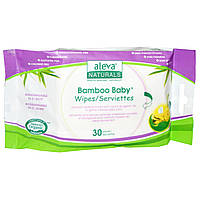 Aleva Naturals, Влажные салфетки Bamboo Baby, 30 влажных салфеток, 15 x 20 см