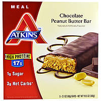 Atkins, Advantage, шоколадный батончик с арахисовым маслом, 5 батончиков, 2,1 унции (60 г) каждый
