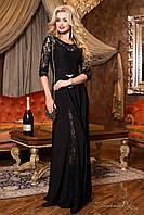 Красивое черное гипюровое платье макси