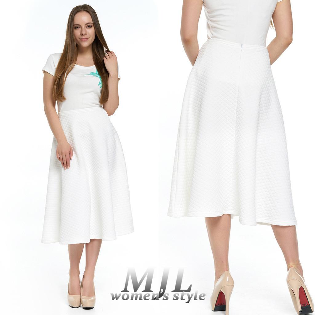 795b7cc5d72 Белая женская юбка миди Линара - DS Moda - женская одежда оптом от  производителя в Харькове