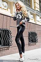 Черные леггинсы с силуэтными вставками из эко кожи, фото 1