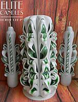 Декор для свадьбы - набор резных свечей, авторская резьба
