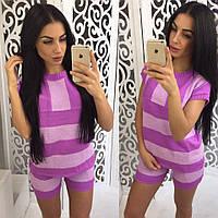 Женский модный костюм из легкой хлопковой пряжи: футболка и шорты (6 цветов)