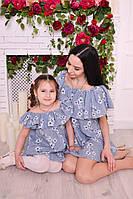 """Красивое стильное летнее платье для мамы и дочки в стиле """"family look"""" В20270"""