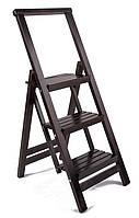 Лестница большая, деревянная стремянка для дома цвет темный венге