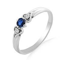 Золотое кольцо с сапфиром и бриллиантами 0,03 карат