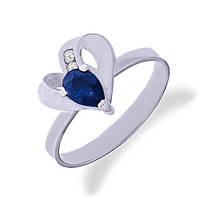 Золотое кольцо с сапфиром и бриллиантами 0.05 карат