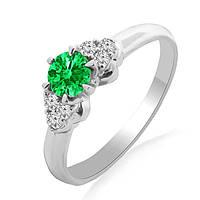 Золотое кольцо с изумрудом и бриллиантами 0,12 карат