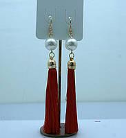 Страстные красные сережки кисточки 2196