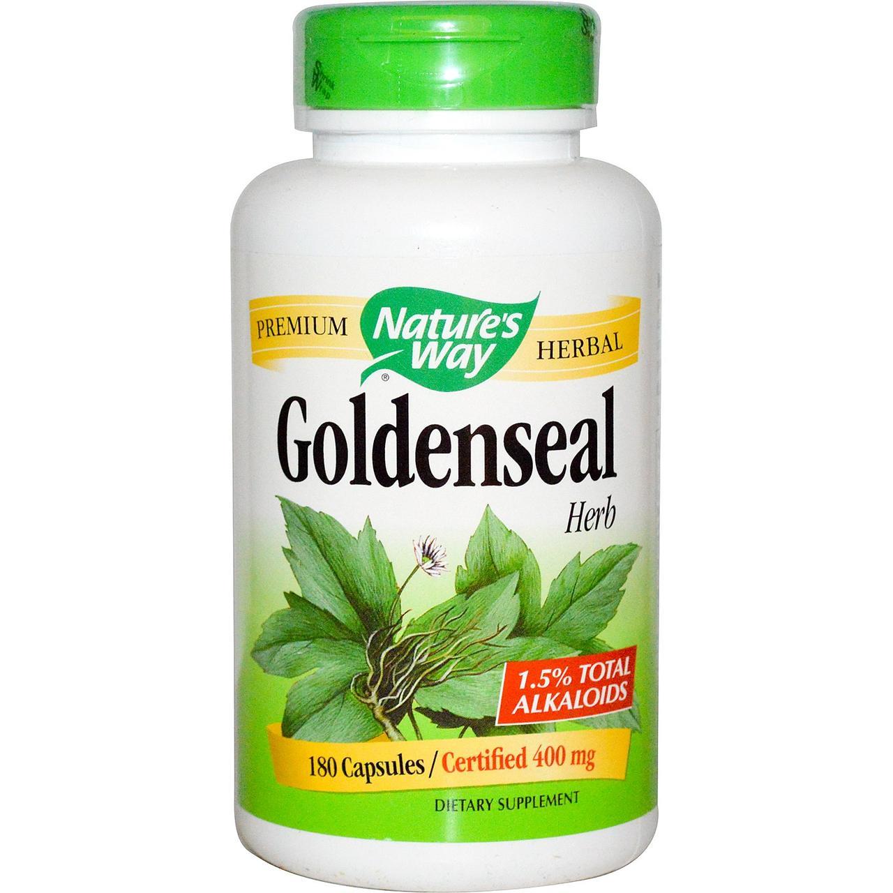Natures Way, Гидрастис канадский, лекарственное растение, 180 капсул