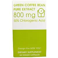 Creative Bioscience, Зеленое кофейное зерно, чистый экстракт, 800 мг, 60 вегетарианских капсул