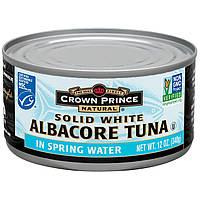 Crown Prince Natural, Твердый белый длинноперый тунец, в родниковой воде, 12 унций (340 г)