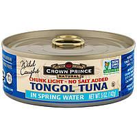 Crown Prince Natural, Кусочки легкого тунца тонгол – без добавления соли, в родниковой воде, 5 унций (142 г)