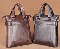 Брендовая мужская сумка Polo вертикальная с ручками. Формат А4. Светло-коричневая