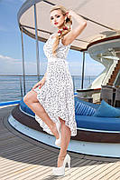 Белое ассиметричное платье с интересным рисунком