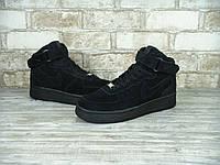Кроссовки Nike Air Force High black замша (Реплика ААА+)