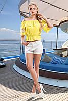 Ярко-желтая блуза с открытыми плечами , фото 1