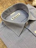 Хлопковая рубашка цвета голубой джинс под брюки, фото 2