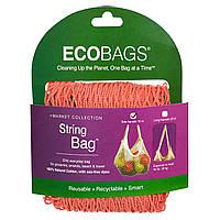 ECOBAGS, Авоська, длина ручек 25 см, цвет — розовый коралл, 1 шт.