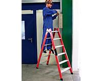 Лестницы и стремянки KRAUSE Диэлектрическая двухсторонняя стремянка с алюминиевыми ступенями KRAUSE 2x8 ступеней