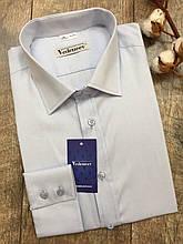 Светлая мужская рубашка в голубую полоску на пуговицах