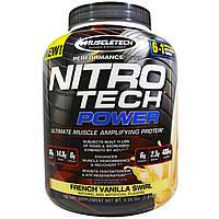 Muscletech, Nitro Tech Сила, совершенный протеин для укрепления мышц, французская ваниль, 1,81 кг (4,00 фунта)
