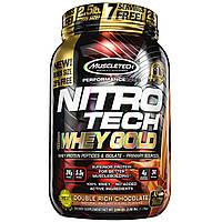 Muscletech, Nitro Tech, 100% сыворотка Gold, Двойной шоколад, 2.50 фунта (1.13кг)
