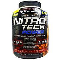 Muscletech, Nitro Tech Power, лучший белок для усиления мышц, тройной шоколад суприм, 4,00 фунта (1,81 кг)