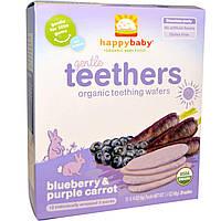 Nurture Inc. (Happy Baby), Gentle Teethers, органические вафли для прорезывания зубов, черника и фиолетовая морковь, 12 шт (по 2 в пакете), 4 г (0,14