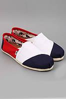 Эспадрильи Toms Classics белые с синим носком, красной боковушкой и белой подошвой