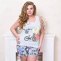 Недорогой комплект женской одежды больших размеров: майка и шорты с принтом Велосипед Moda Love Турция MDLV-17280 (3 ед. в упаковке)