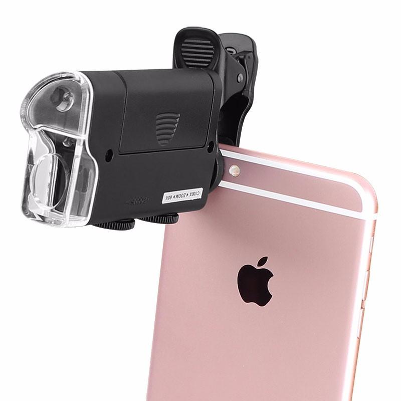 Портативний ручний мікроскоп 60Х-100Х для смартфона. Кишеньковий мікроскоп оптичний