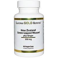 California Gold Nutrition, Новая Зеландия, Зеленые мидии плюс имбирь, 500 мг, 60 растительных капсул