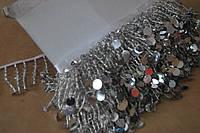 Тесьма навеска из бисера и паетки. Серебро.