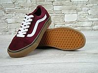 Кеды Vans Old Skool Maroon Gum 36-45 рр (унисекс) (Реплика ААА+), фото 1