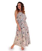 Платье летнее длинное Бабочки зеленое ТМ Прованс by Vona
