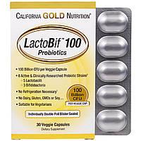California Gold Nutrition, LactoBif 100 в блистере из двойной фольги, в упаковке 30 капсул