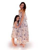Платье для мамы и дочки Бабочки бежевое ТМ Прованс by Vona