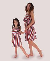 Платье для мамы и дочки Полосы цветные ТМ Прованс by Vona