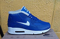 Зимние кроссовки Nike Air Max 90 с мехом синие (аир макс, эир макс) 45