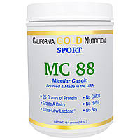 California Gold Nutrition, SPORT, MC 88, Pure Micellar Casein Protein, Ultra-Low Lactose, 16 унций (454 г)