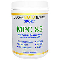 California Gold Nutrition, SPORT, MPC 85, Pure Milk Protein Concentrate, Ultra-Low Lactose, 16 унций (454 г)