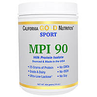California Gold Nutrition, SPORT, MPI 90, Pure Milk Protein Isolate, Ultra-Low Lactose, 16 унций (454 г)