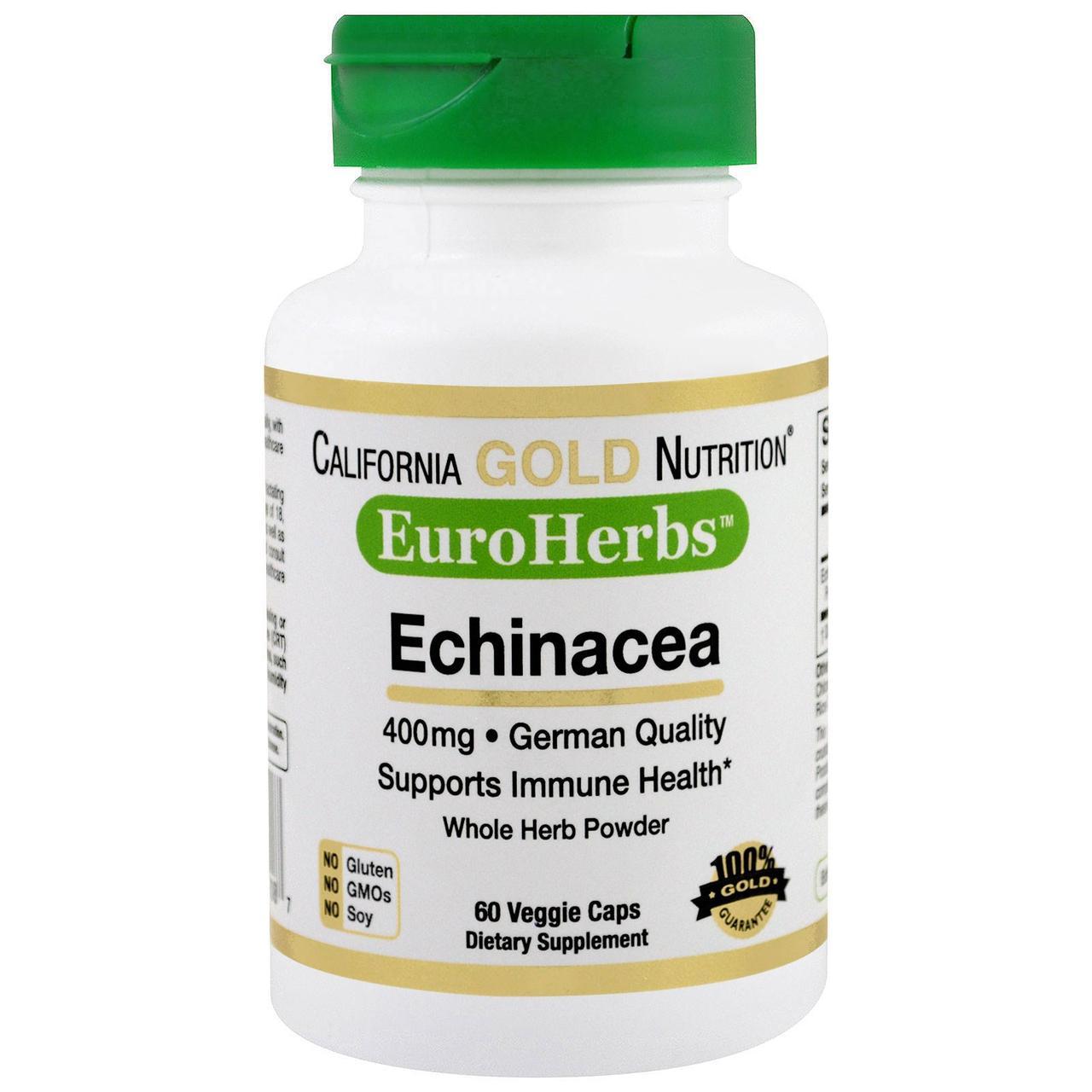 California Gold Nutrition, EuroHerbs, Эхинацея PWD 400 mg, VC MB, 60 карат