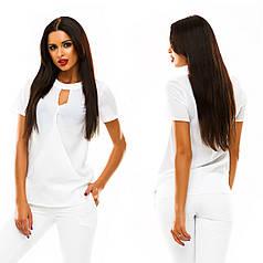 Яркие блузы спереди с переплетом